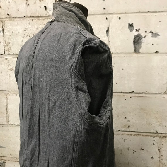 vintage 40s chambray coat french workwear maquign… - image 9