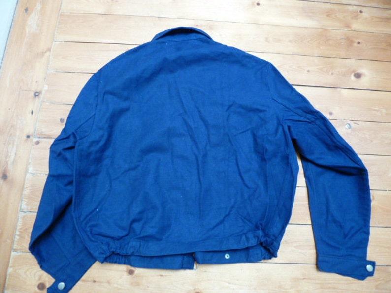 french workwear jacket denim jacket bomber jacket vintage chore jacket indigo 50s 60s denim deadstock workwear french Bleu de Travail