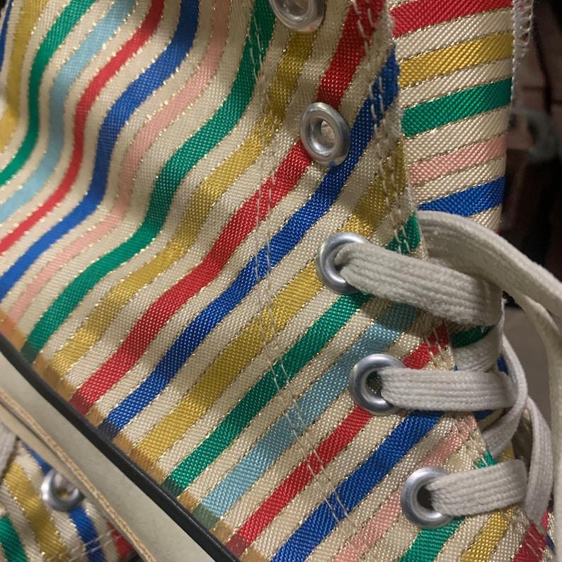 Deadstock 80s candy-stripe e oro filo lurex filo conversare hVDkVmDi