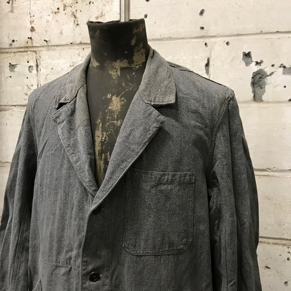 vintage 40s chambray coat french workwear maquign… - image 2