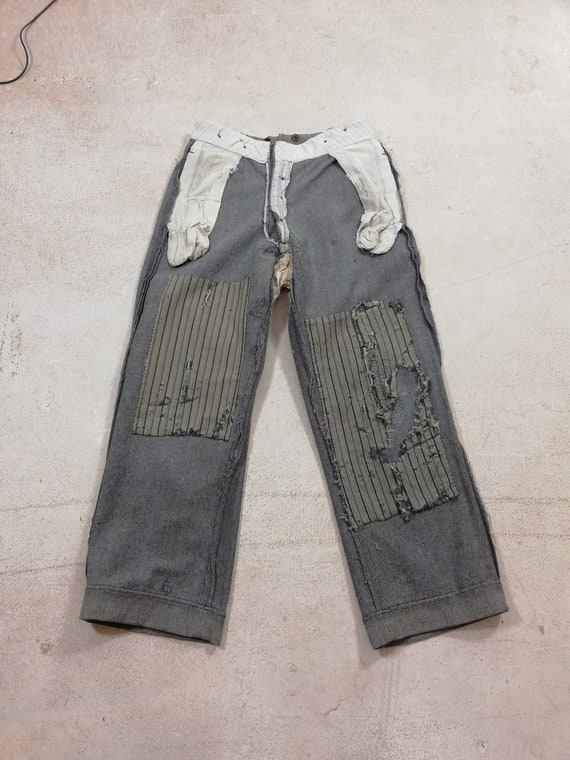 Vintage 1930's French wool farmers' Pants Patched