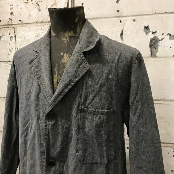 vintage 60s chambray atelier coat french workwear - image 2