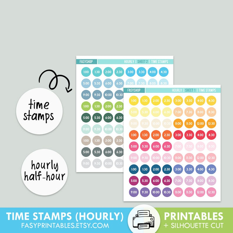 photograph regarding Stamps Printable titled MINI Period STAMPS Printable Hourly 50 % Several hours Ideal for Hourly Eclp - Printable silhouette minimize history , printable sticker planner