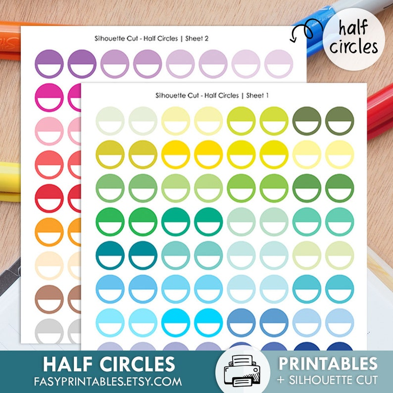 graphic about Circle Printable Stickers named Fifty percent CIRCLES - printable silhouette reduce report , printable sticker planner, printable planner stickers, ec everyday living planner
