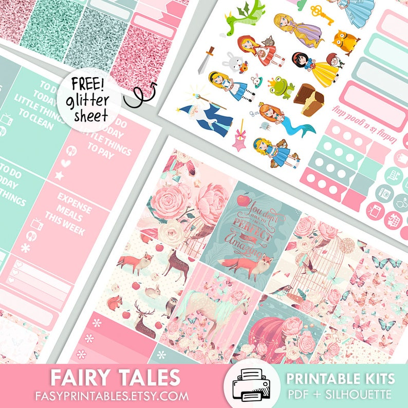 966bbeb847af5 Fairy Tales - KIT - PRINTABLE silhouette cut file , printable sticker  planner, printable planner stickers Erin Condren Life Planner