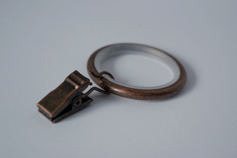 Silent Sliding Strong Metal Curtain Rings with Pincer Clips Antique Copper \u00d830mm Pack of 10 40mm