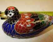 Cloisonne Duck Bird Statue Figurine Gold Plated Enamel Brass 2 1 2 quot Vintage Chinese Feng Shui