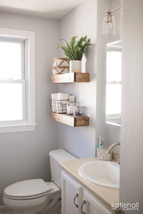 Floating shelf farmhouse shelves nursery shelf bathroom etsy - Floating shelf ideas for bathroom ...