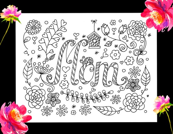 Mothers Day Coloring Page Mom Kids Art Printable Coloring