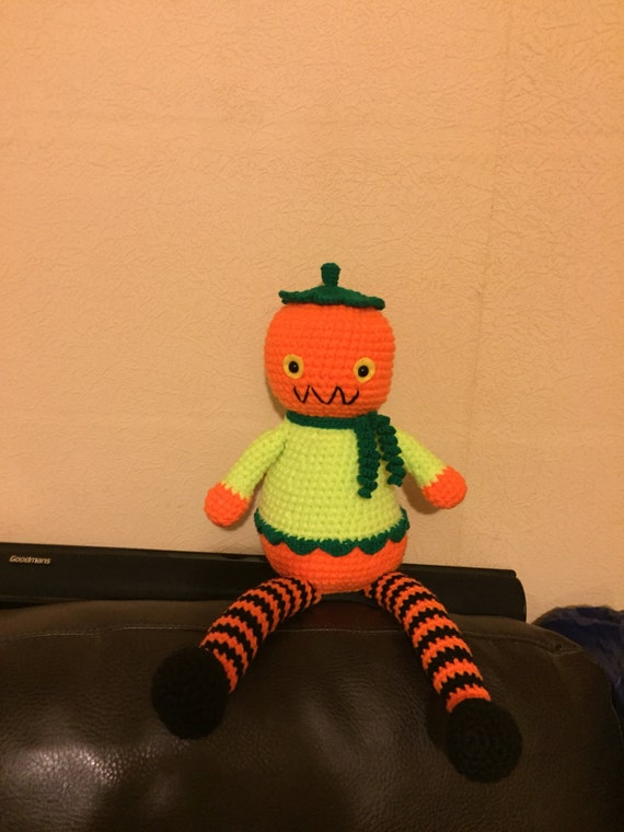Pumpkin man hand crochet