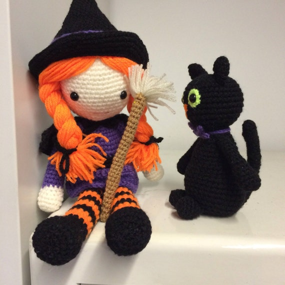 Crochet cute witch and black cat