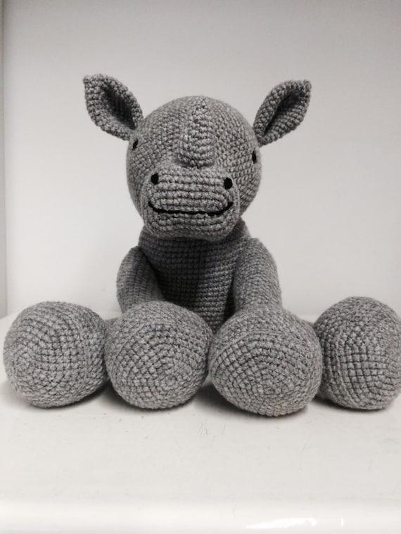 Hand made crochet rhino