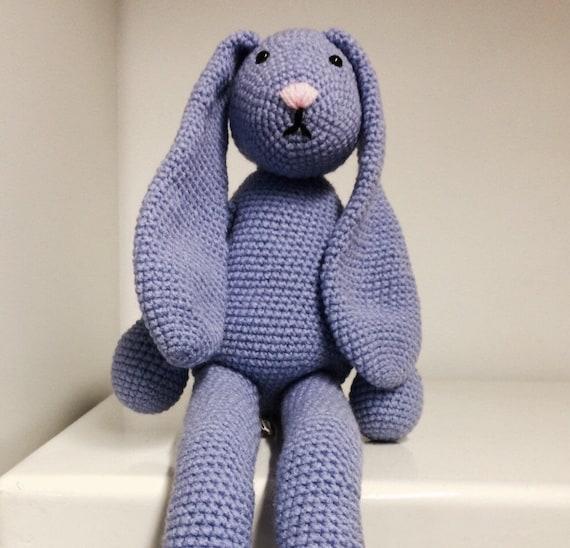 Hand made crochet long legged bunny