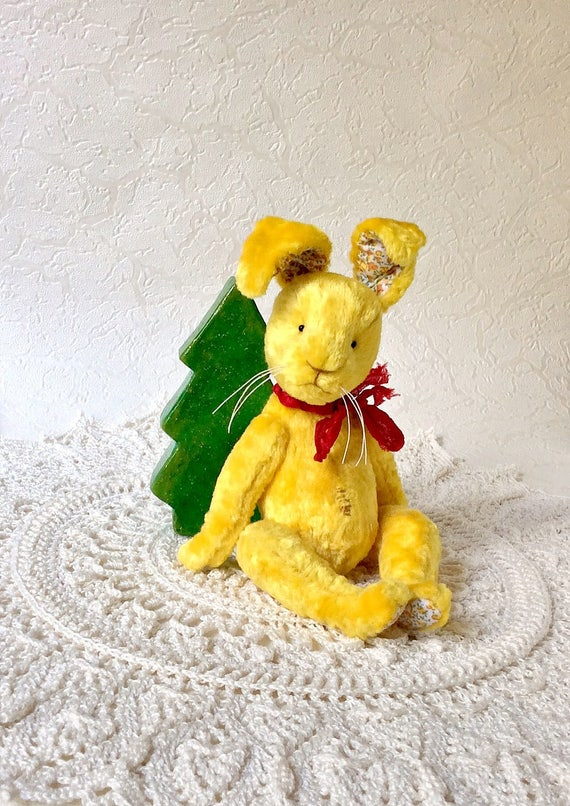 Lapin jaune lapin artiste teddy animaux jouets en peluche lapin en peluche jouets jouets unique nounours jaune collection peluche lapin