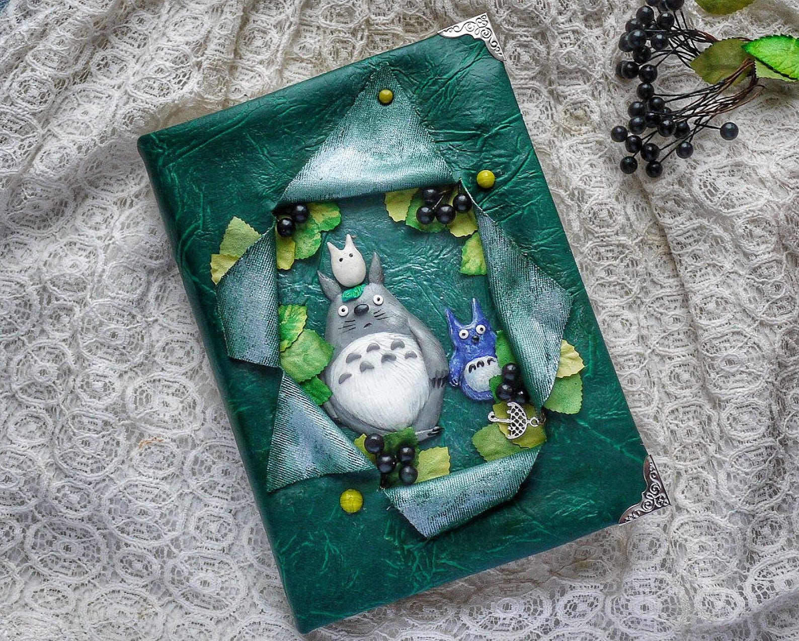 Notebook, journal with polymer clay cover, Green handmade diary with Totoro (A5), notepad, book, sketchpad, sketchbook,