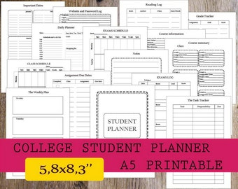 2018 college student planner a5 planner printable filofax etsy