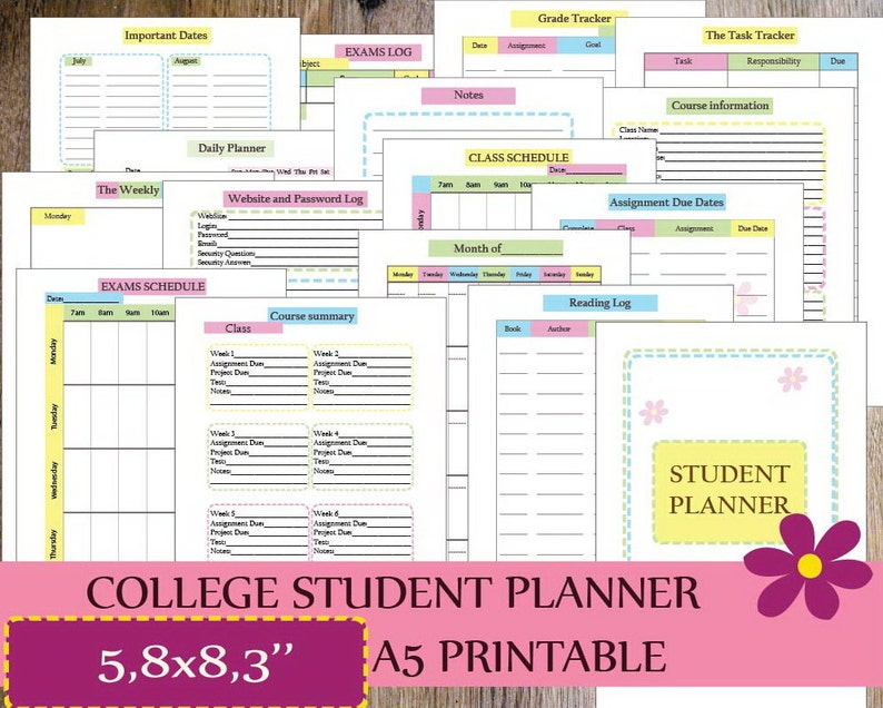 photograph regarding Printable College Student Planner identified as College or university Planner, Review Planner Inserts A5, Printable 2019, Educational Planner Printable, Superior faculty, Each day Planner