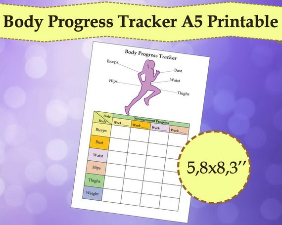 body tracker measurement tracker a5 planner printable weight loss tracker pdf planner 2018 a5 insert fitness instant download