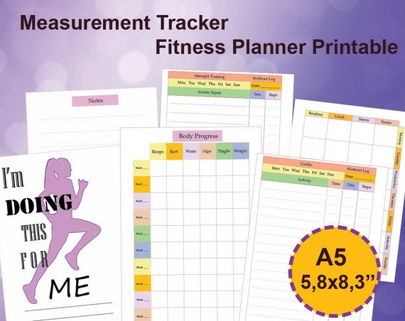 measurement tracker a5 fitness tracker a5 printable body progress tracker a5 fitness planner 5 8 x8 3 instant download