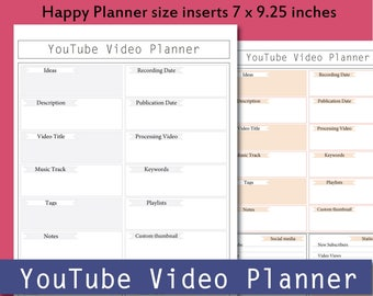 Printable YouTube Planner, video planner, YouTube Video, YouTube Channel,Happy Planner size inserts