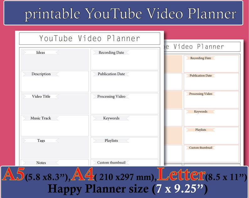 Youtube Channel Printable, Youtube Video Planner, Video Social Media  Planner Insert Printable