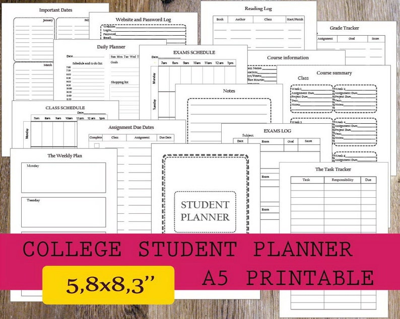 College Student Planner Printable 2019, Student Planner A5 Printable,  Homework Planner, Filofax A5 Planner Pages, Instant Download