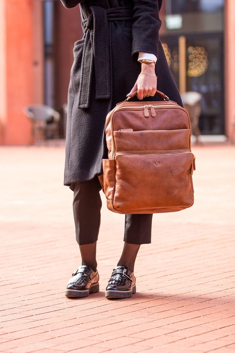 7b1858987b Leather Backpack Vintage Rucksack Backpack for Women Unisex