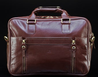 Mens Brown Leather Briefcase Laptop Bag
