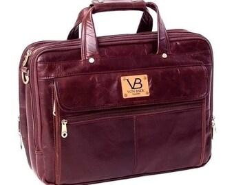 Brown Leather Briefcase / Laptop Bag for Men / Business Bag Office Work Bag