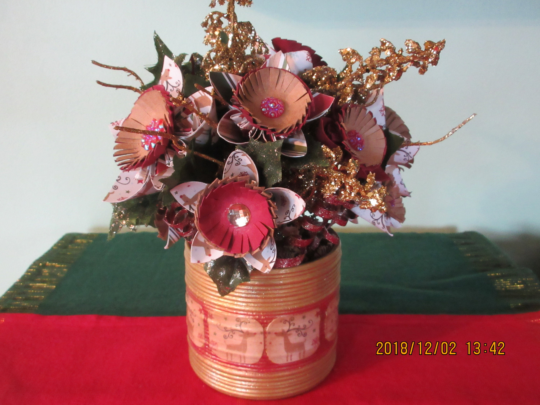 Christmas Winter Origami Flower Arrangement Painted Etsy