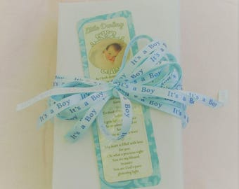 """Trusting Souls """"Little Darling"""" Laminated Bookmark For """"New Baby Boy"""" with Silver Plated Blue Heart Charm -For New Mom, Dad or Adoption"""