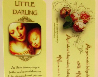 """Trusting Souls """"Little Darling"""" Laminated Bookmark – Madonna and Child With Silver Plated Pink/Blue Heart Charm For New Mother or Adoption"""