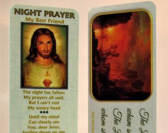 Night Prayer (My Best Friend) Bookmark/ Aqua-Sunset with Gold Plated Cross Charm