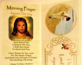 Morning Prayer Bookmark/Prayer Card~Christian Bible Bookmark~Nurse, Caregiver, Friend or Teacher Gift~Trusting Jesus~Sea and Pearls Gift