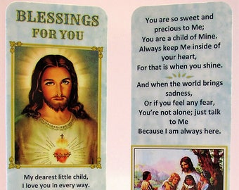 "Christian Child's Bookmark~""Blessings For You"" Child's Prayer~Child's Bible Gift~Teaching About Jesus~Sunday School Gift~Youth Group Gift"