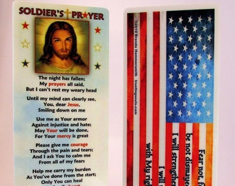Soldier's Prayer Bookmark/American Flag Bookmark/925 Silver Cross Macrame Bracelet/Soldier Gift/Army Deployment/Christian Soldier/Soldier