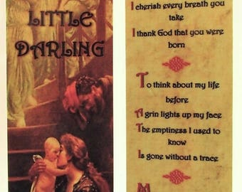 Little Darling Laminated Bookmark/Gift Tag with Gold Or Bronze Trusting Souls Angel Charm~New Mom Gift Tag~New Dad Bookmark~Adoption Gift