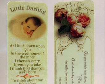 """New Baby Girl Laminated Bookmark/Gift Tag with Silver Pink Charm~New Mom Shower Gift~New Mother Adoption Gift for Baby Girl~""""Little Darling"""""""