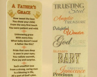"""New Father Gift~Silver Baby Feet Charm~""""A Father's Grace"""" Original Poetry~Laminated Bookmark~Adoption Dad~New Baby Girl~Christian Bookmark"""