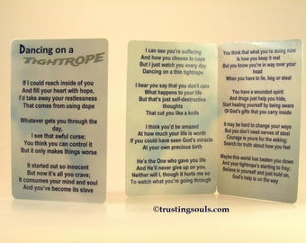 """Drug Addiction/Intervention Prayer/""""Dancing On A Tightrope"""" Pocket Prayer Card/Reaching out to Loved One with Opiod Addiction~Meth Addiction"""