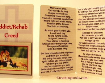 Teen Addiction/Rehab Creed~Pocket Prayer Card~Addressing Drug Overdose/Rehab~Reaching out to a Teen with Alcohol, Meth, or Opiod Addictions