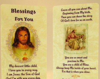 "Christian Girl's Bookmark & Cross Bracelet~""Blessings For You"" Child's Prayer~Child's Bible Gift~Sunday School Gift~Catechism~Preschooler"