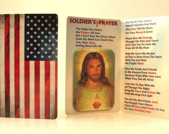 Soldier's Prayer/American Flag Prayer Card/925 Silver Cross Macrame Bracelet/Soldier Gift/Army Deployment/ Christian Soldier/Soldier of God