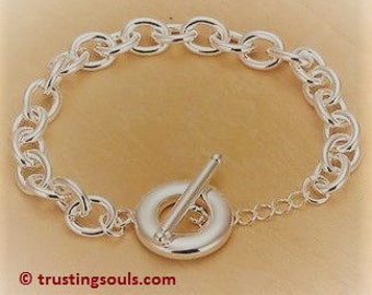 925 Silver Plated Charm Bracelet~Easy Close Toggle Clasp Bracelet~Silver Charm Bracelet~Trusting Souls~