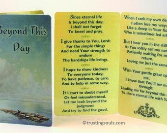 Morning Prayer-Prayer Card/Beyond this Day Pocket Card/Silver Plated Lamb Charm