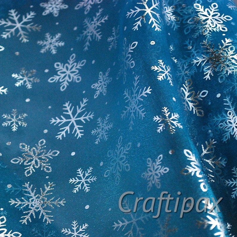 Elsa Frozen Fabric  Snowflake and Hologram Sequin image 0