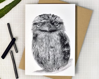 Tawny frogmouth greeting card with envelope, A6 print of original charcoal drawing, Australian made