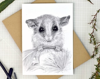 Pygmy possum greeting card with envelope, A6 print of original charcoal drawing, Australian made