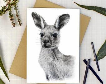 Kangaroo greeting card with envelope, A6 print of original charcoal drawing, Australian made