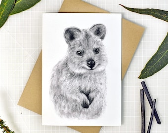 Quokka greeting card with envelope, A6 print of original charcoal drawing, Australian made